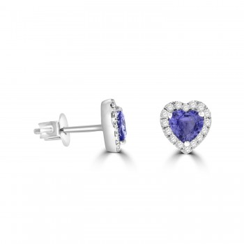 9ct White Gold Heart Sapphire Diamond Halo Stud Earrings