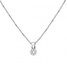 9ct White Gold Daisy Cluster Diamond Pendant Chain