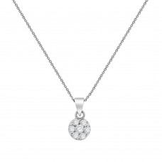 9ct White Gold Diamond Daisy Cluster Pendant Chain