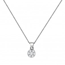 9ct White Gold Daisy Diamond Cluster Pendant Chain