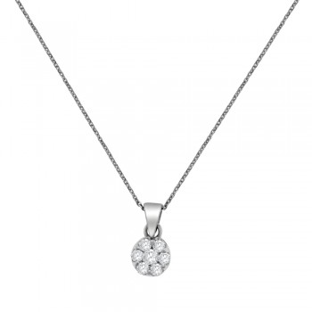 9ct White Gold Daisy Diamond Cluster Pendant Chain