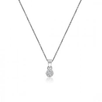 9ct White Gold Daisy Diamond Cluster Pendant 16