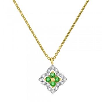 9ct Gold Emerald & Diamond Clover Pendant Chain