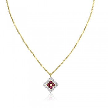 9ct Gold Ruby & Diamond Clover Pendant Chain