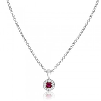 9ct White Gold Ruby & Diamond Halo Pendant