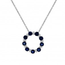 9ct White Gold Sapphire & Diamond Circle of Life Pendant Chain