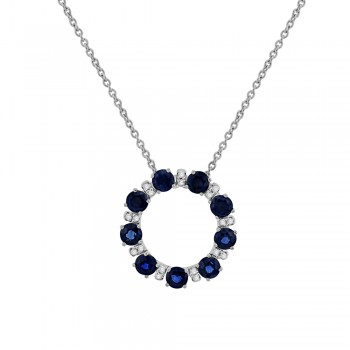9ct White Gold Sapphire & Diamond Circle of Life Pendant Chain