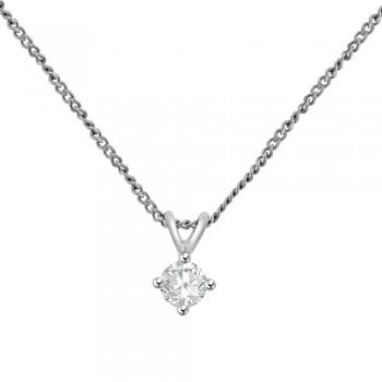 9ct White Gold .20ct Diamond Solitaire Pendant Chain