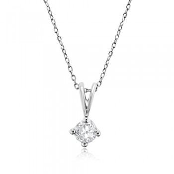 9ct White Gold .25ct Diamond Solitaire Pendant chain