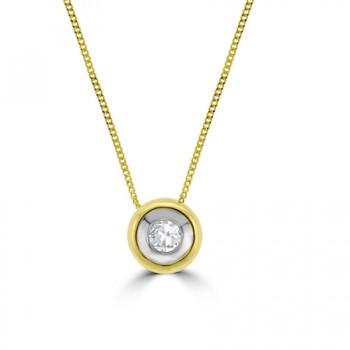 9ct Gold .10ct Diamond Full Moon Pendant