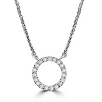 9ct White Gold Diamond Open Circle Pendant Chain