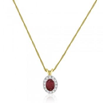 9ct Gold Ruby & Diamond Oval Halo Pendant