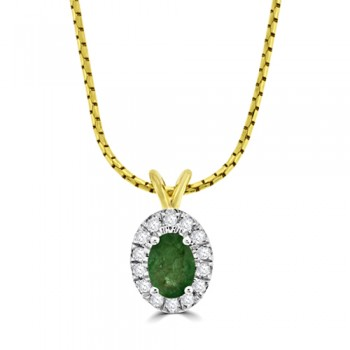 9ct Gold Emerald & Diamond Oval Cluster Pendant