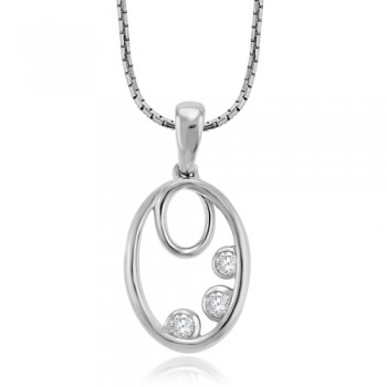 9ct White Gold 3-stone Diamond Loop Pendant