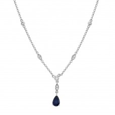 9ct White Gold Pear Sapphire & Diamond Pendant Chain