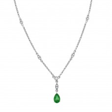 9ct White Gold Pear Emerald & Diamond Pendant Chain