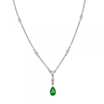 9ct White Gold Pear Emerald & Diamond Pendant Chain