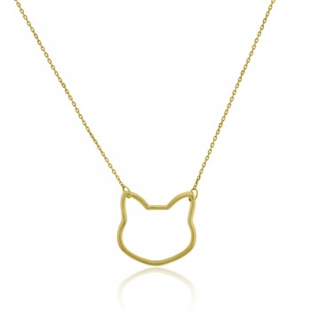 9ct Gold Cat Pendant Chain