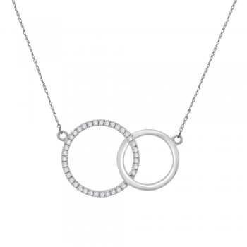 9ct White Gold Interlinked Diamond Circle of Life Pendant Chain