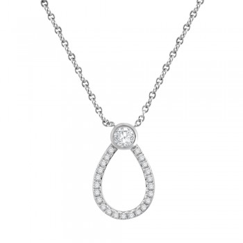 9ct White Gold Open Pear shaped Diamond Pendant Chain