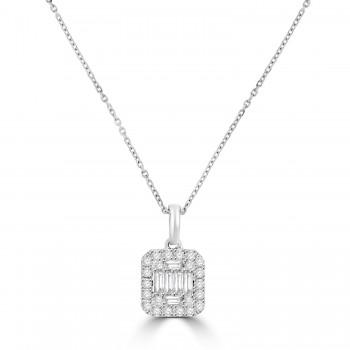 9ct White Gold Baguette Diamond Cluster Pendant