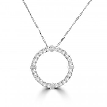 9ct White Gold 1.00ct Diamond Circle of Life Pendant Chain