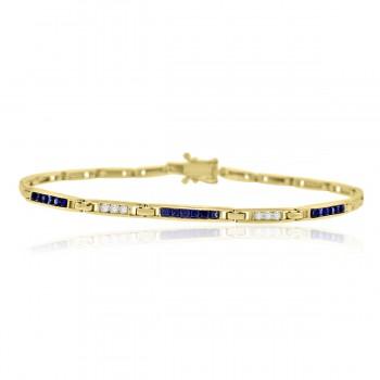 9ct Gold Sapphire & Diamond Bracelet