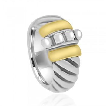 Sterling Silver & 18ct Gold Gemoro Ring