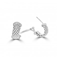 Sterling silver Huggy Style Mesh Earrings