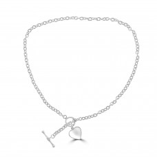 Silver T-Bar and Heart Necklet