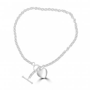 Silver T-Bar Heart Necklace