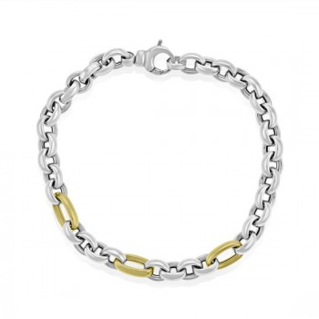 Sterling silver & Triple 9ct Gold link 7.5