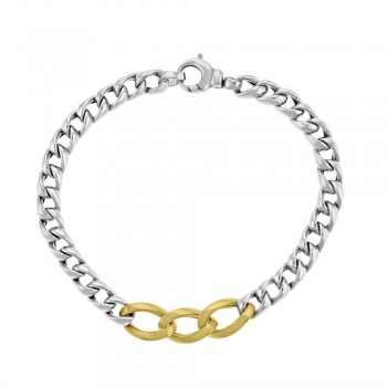Sterling Silver & 9ct Yellow Gold Curb Bracelet