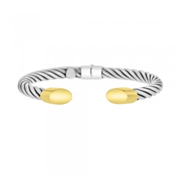Sterling silver & 18ct Yellow Gold Gemoro Torc Bangle