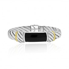 Sterling silver, Onyx & 18ct Gold Hinged Bangle