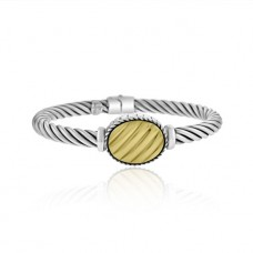 Sterling silver & 18ct Gold Hinged Bangle