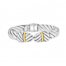 Sterling Silver & 18ct Yellow Gold Gemoro Flat Bangle