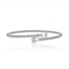 Sterling silver & Cubic zirconia Torq Overlap Bangle