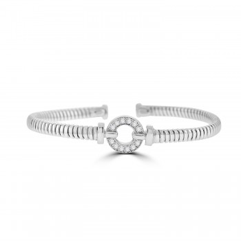 Sterling silver Cubic zirconia Circle of Life Bangle