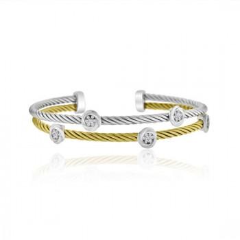 Sterling silver & Yellow Cubic zirconia Torq Bangle