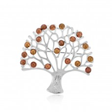 Sterling Silver & Copper Tree of Life Brooch