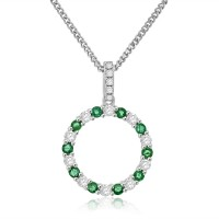 Sterling Silver Emerald Circle of Life Pendant Chain