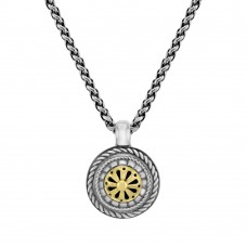Sterling silver & 18ct Yellow Gold Gemoro Wheel Pendant