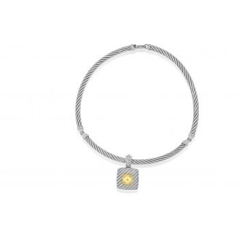Sterling Silver & 18ct Gold Diamond Gemoro Pendant