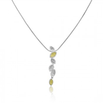 Sterling silver & Yellow Gold Leaf Drop Pendant