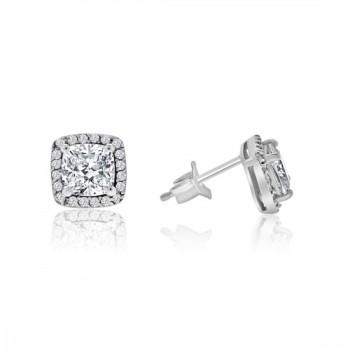 Sterling silver Cushion Cubic zirconia Halo Stud Earrings