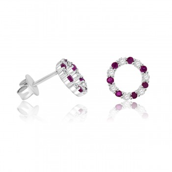 Sterling Silver Ruby Circle of Life Stud Earrings
