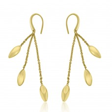 18ct Gold Triple Nugget Dropper Earrings