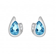 9ct White Gold Pear Blue Topaz & Diamond Stud Earrings