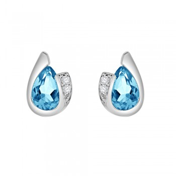 9ct White Gold Pear Blue Topaz & Diamond Stud Earrings